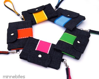 Smartphone Wallet by MinneBites / Choose your Color - Gray iPhone Case - Rainbow Passport Wallet Wristlet - Womens Gift - ready to ship