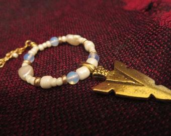 Boho tribal gold filled long beaded arrow pendant necklace.