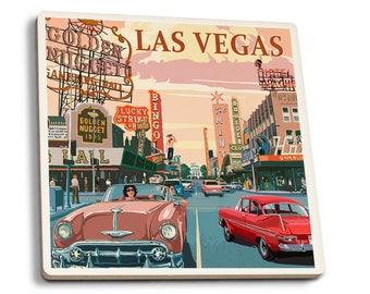 Las Vegas, NV - Old Strip Scene - LP Artwork (Set of 4 Ceramic Coasters)