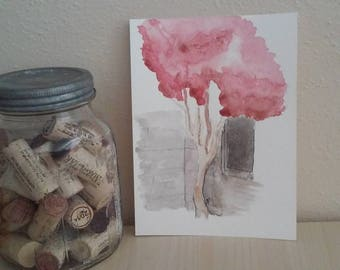 The Tree with Red and Pink Leaves - Watercolor and Ink Illustration