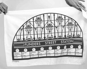 Flinders Street Station, Melbourne Tea Towel, kitchen, homewares, designed and printed in Melbourne,  present, 100% cotton