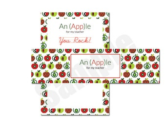 Apple iTunes Gift Card for Teacher Appreciation Tag and Wrap Around Instant Download Printable