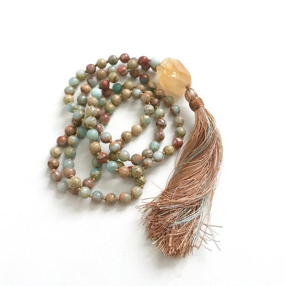 MALA FOR CREATIVITY - Citrine Mala Beads - African Opal Mala Necklace - Yoga Meditation Beads - Knotted Mala - Prayer Beads - Mantra Mala