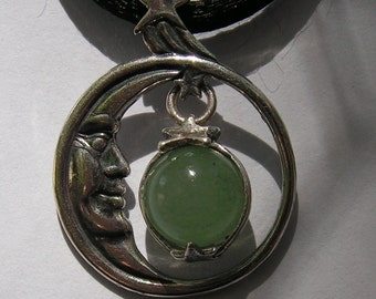 Sterling Silver Moon Face And Star Pendant With Aventurine