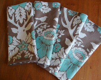 Blue and Brown Cloth Napkins (4) with Deer, Birds, Chrysanthemum, Stag, Antlers, fall Napkins, Woodland Napkins, Joel Dewberry Birch Farm