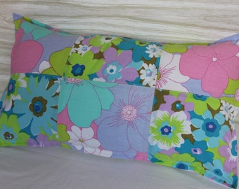 Pillow Lumbar Patchwork 12 x 20 Retro Floral Vintage Fabric Upcycled Aqua Green Purple