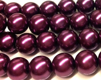 Set of 5 plums effect glass beads Pearl T44