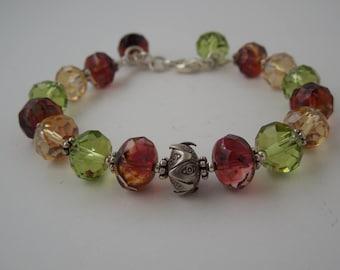 Liz Sparkling Green, Amber & Fuchsia Bracelet