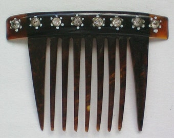 Small Cellulose Comb with Rhinestone Accents - 3850