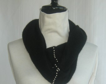 Infinity Cashmere Wool Scarf made from an Upcycled DARK Navy Blue  Sweater