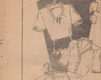 Bust 34-RARE 1930's Misses' Blouse Mail Order Pattern 2513 Size 16