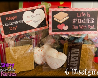 Printable VALENTINE TREAT Bag TOPPERS - S'more Valentine Bag Toppers - Diy Valentines - Smores Valentine Treat Bag Toppers  Instant Download