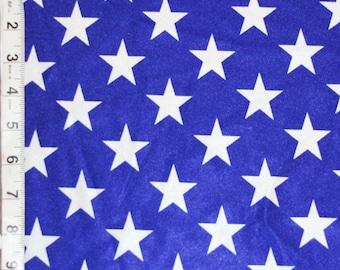Royal Blue White Star Shiny Polyester Spandex Lycra Fabric Bright High Quality 4-Way Stretch