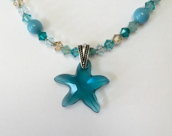 Sea and Shore Starfish Aqua and Teal Swarovski Crystal and Pearl Necklace