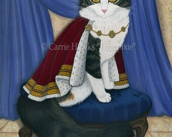 King Cat Prince Anakin The Two Legged Cat Royal Cat Regal Fantasy Cat Art Original Canvas Painting 12x16 Art For Cat Lover