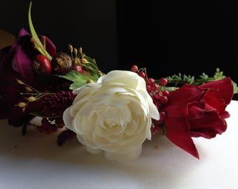 Half Flower Crown, Floral Crown, Boho crown, Roses, and Berries, Rustic country flowers