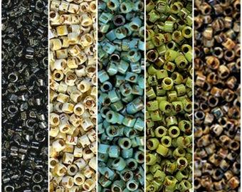 Miyuki Delica Seed Beads Size 11/0 Picasso Black DB2261, Canary Yellow DB2262, Seafoam Green DB2264, Chartreuse DB2265, Brown Tan DB2267 5gr