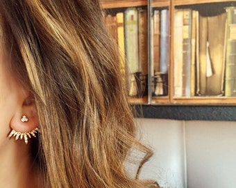 Gold Ear Jackets + Sparkly Spikes- gold ear jacket / ear jacket spike / ear jacket gold / ear jacket earring / gold ear cuff / gifts for her