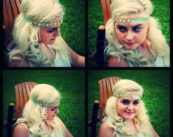 Mint Green and Gold Crystal Headband Boho Bride Dance Costume dancer