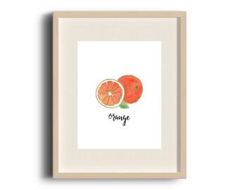 8x10 Print, Fruit Art, Watercolor Orange Art Print 8x10, Orange Fruit Illustration, Fruit Illustration, Watercolour Print, Fruit Sketch