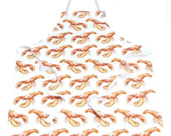 Lobster Apron - 100% Cotton Apron, Housewarming Gift, Birthday Gift, Easter Gift, Coastal kitchen