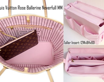 Taller Purse organizer for Louis Vuitton Neverfull MM with Zipper closure- Bag organizer insert in Rose Ballerine