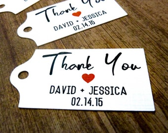 50 Personalized Tags - Wedding Favor Tags  - 2.5 x 1.25 in - Thank You Tags  - Wedding Tags - Rustic Wedding - Wedding Gift Tags WT9