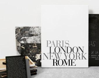 Paris London Wall Art Prints, Scandinavian Print, Gallery Wall Art Print, Typography Prints, Inspirational Wall Art, Minimalist Typography