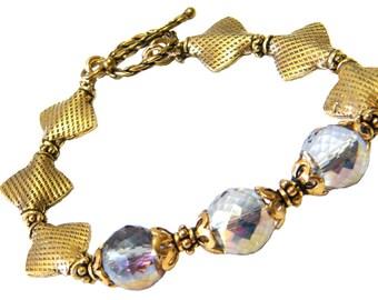 Crystal Bracelet, Gold Crystal Bracelet, Party Bracelet, Prom Bracelet, Sparkly Bracelet