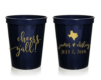 Cheers Y'all Custom Wedding Cups, Personalized Wedding Cups, Wedding Stadium Cups, Wedding Favor, Any City and State, Cheers Yall