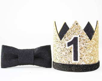 First Birthday Outfit Boy Crown   Baby Boy Birthday Party Hat   First Birthday Glitter Crown   1st Birthday Hat   Gold + Black 1