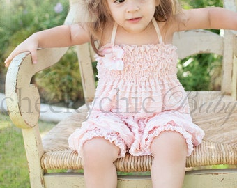 Vintage Ruffle Romper by Cheeky Chic Baby- Pink