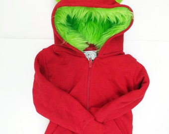 Toddler Monster Hoodie - Size 4T - Red with Lime green - horned sweatshirt, custom jacket, real simple, magazine holiday gift guide