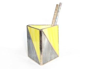 Geometric Pencil Holder Stained Glass Chevron Triangle Gray Yellow Handmade - LAST ONE
