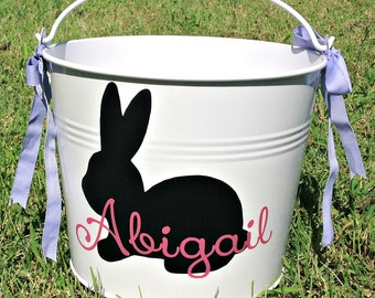 Easter Bucket, Easter Pail, Personalized, Featuring Bunny Rabbit and Child's Name