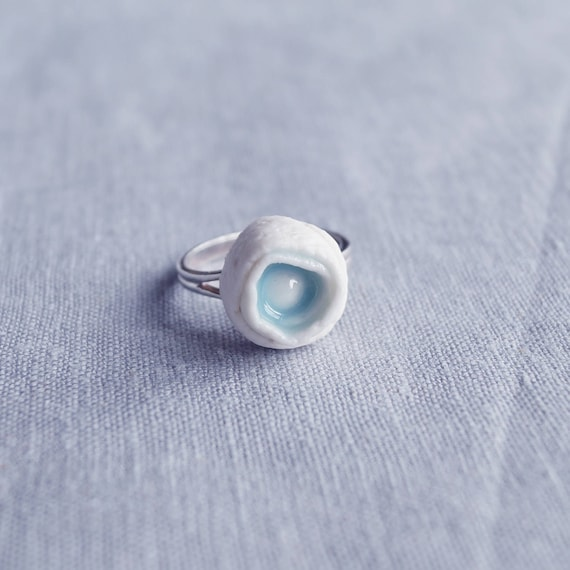 ROLLED No4 porcelain sterling silver ring