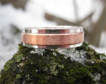 Copper Ridge Wedding Band . personalized mens mixed metal ring . sterling silver and copper band . READY TO SHIP sz 9