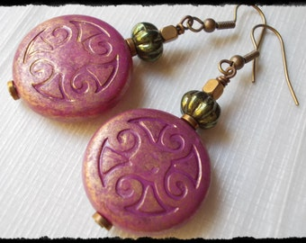 Large retro earrings antique brass rose pink lucite solid brass beads funky long dangle earrings for women handmade new vintage chic