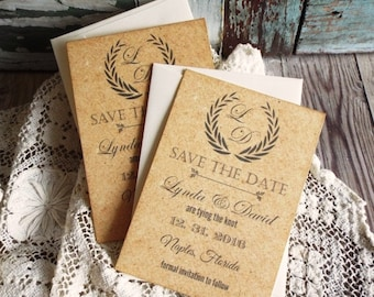 Vintage Elegant Save the Date Cards with Cork Background Handmade by avintageobsession on etsy
