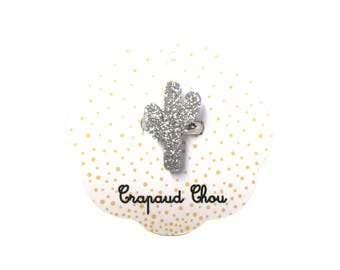 Silver glitter cactus ring