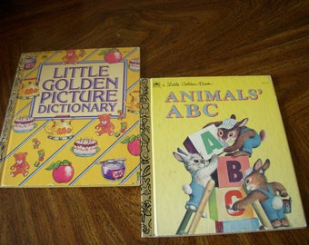 Vintage Little Golden Books, Animals' ABC and Little Golden Picture Dictionary, Set of 2