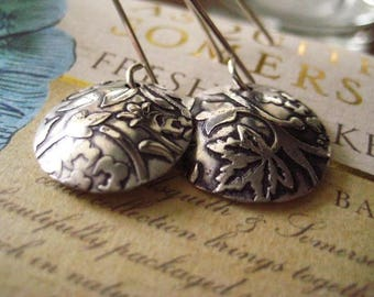 Sterling Earrings, Hammered Design, Sterling Silver, Oxidized Discs, Handmade Earwires, candies64