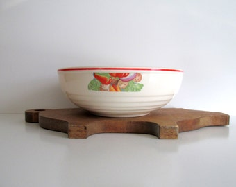 Vintage Salad Serving Bowl Universal Cambridge Pottery Red Trim Fruits Vegetables