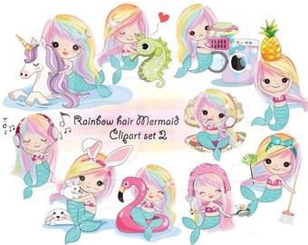 Rainbow hair Mermaid Clip art set 2 , instant download PNG file - 300 dpi