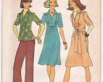 FF Simplicity 7049, 1970s Boho One Piece Dress, Tunic Top Flared Pants Vintage Sewing Pattern, Size 10, 12, Bust 32 34, Cut and Uncut