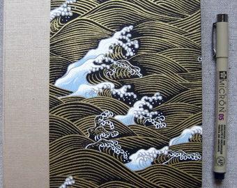 Large Lined Handbound Hardcover Journal Ocean Waves Black/Gold