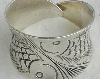 Sterling silver handmade, handcrafted wide band cuff ring