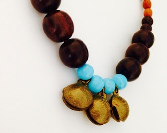Tribal Indian Bell Necklace with glass and wood beads
