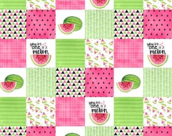 One in a Melon Minky Blanket - Designer Minky - Faux Patchwork - Fuchsia