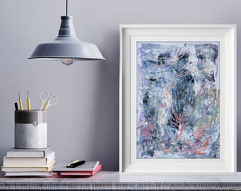 ORIGINAL ART / Glacier / Abstract painting mixed media on paper